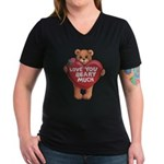 Love You Beary Much Women's V-Neck Dark T-Shirt