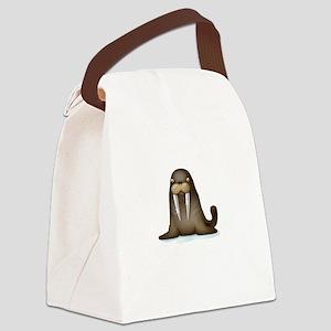 Walrus Vampire White Canvas Lunch Bag