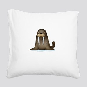 Walrus Vampire White Square Canvas Pillow