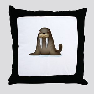 Walrus Vampire White Throw Pillow