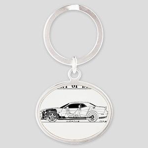 car drive auto race dc Oval Keychain