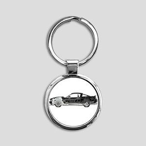 car drive auto race fm Round Keychain