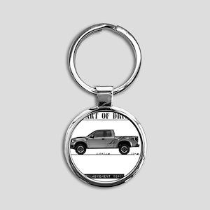 car drive auto race ft Round Keychain