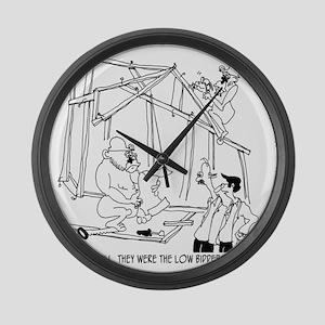 5776_construction_cartoon Large Wall Clock