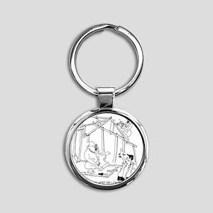 5776_construction_cartoon Round Keychain