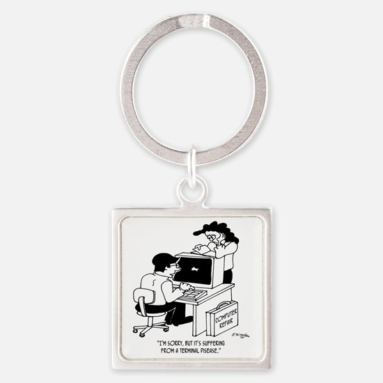 5812_computer_cartoon Square Keychain
