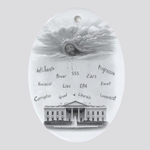 WhiteHouseTrimmed-Sized Oval Ornament