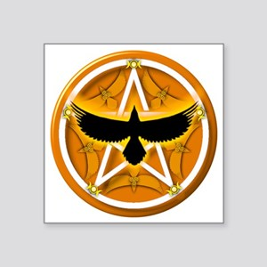 "Crow Pentacle - Yellow Square Sticker 3"" x 3"""