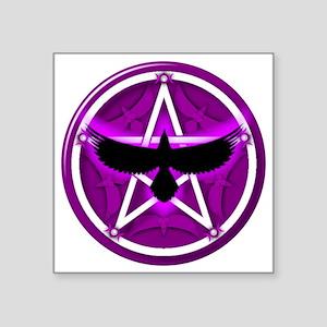"Crow Pentacle - Purple Square Sticker 3"" x 3"""