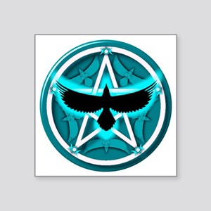 "Crow Pentacle - Teal Square Sticker 3"" x 3"""