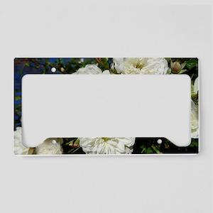 White Roses in Blue Sky License Plate Holder