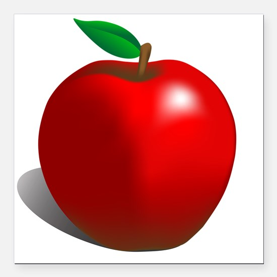 """red apple Square Car Magnet 3"""" x 3"""""""