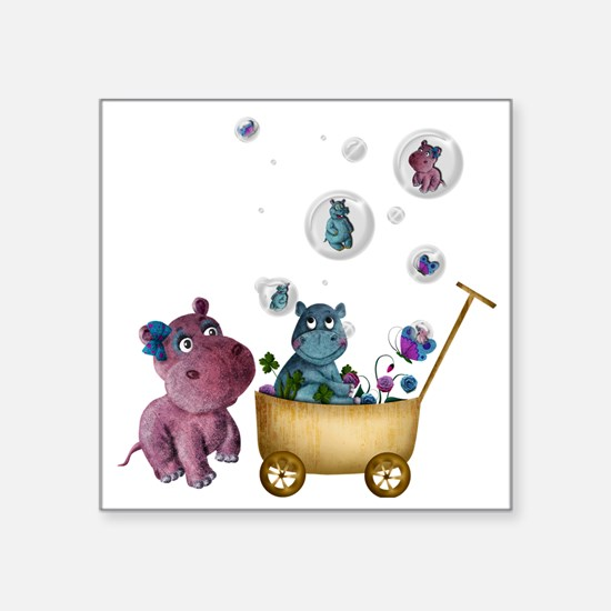 "funhippos Square Sticker 3"" x 3"""