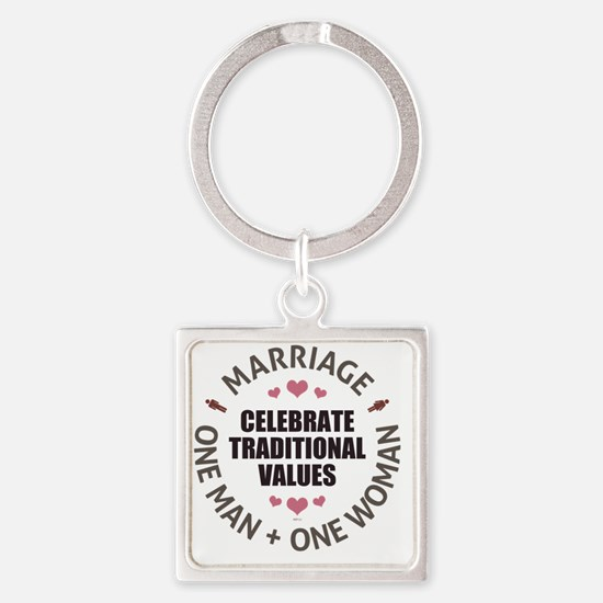 june11_celebrate_traditioal_values Square Keychain