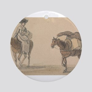 Girl with Packhorse - Paul Sandby - c1800 Round Or