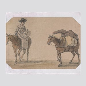 Girl with Packhorse - Paul Sandby - c1800 Throw Bl