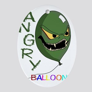 angry ballons green2 Oval Ornament