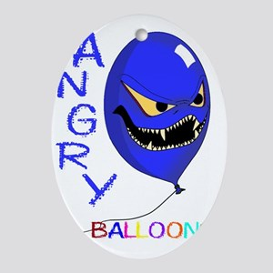 angry ballons blue2 Oval Ornament