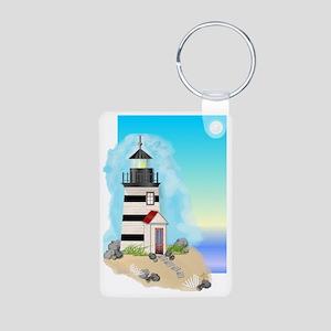 Lighthouse Journal Cover Aluminum Photo Keychain