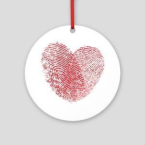 heartfingerprint Round Ornament