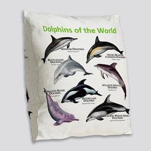 Dolphins of the World Burlap Throw Pillow