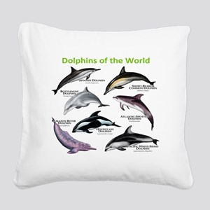 Dolphins of the World Square Canvas Pillow