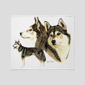 Sib Husky Multi dark Throw Blanket