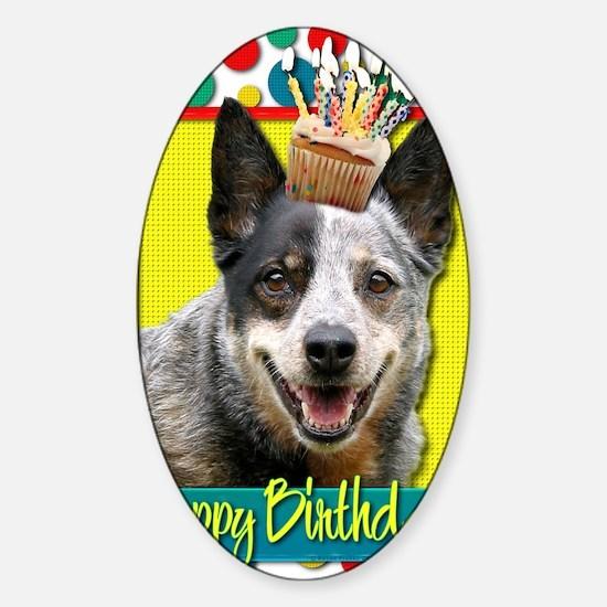 BirthdayCupcakeAustralianCattleDog Sticker (Oval)