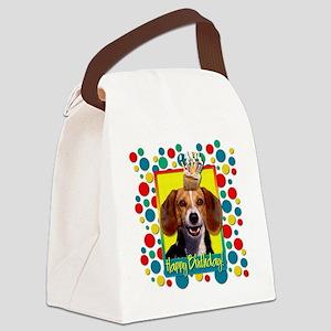 BirthdayCupcakeBeagleCP Canvas Lunch Bag