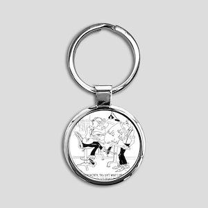 4998_bridge_cartoon Round Keychain