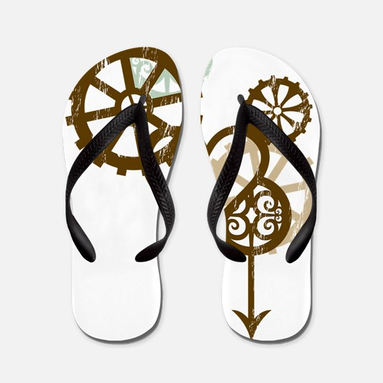 steampunk love Flip Flops
