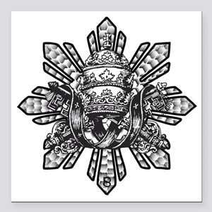 """Filipino Sun With Crown Square Car Magnet 3"""" x 3"""""""