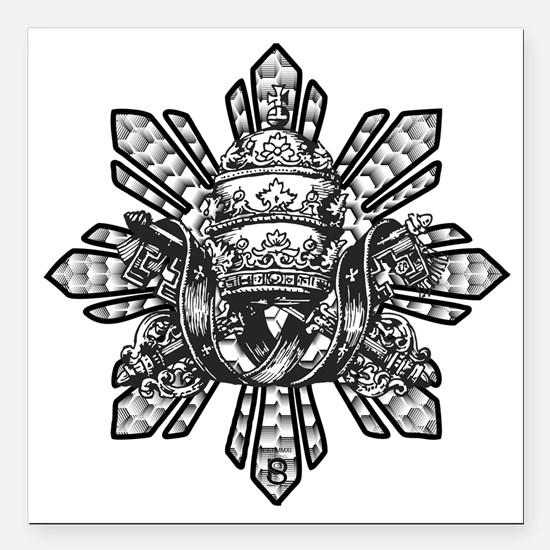 "Filipino Sun With Crown Square Car Magnet 3"" x 3"""