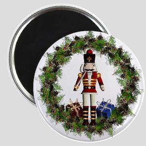 Red Nutcracker Wreath Round Magnets