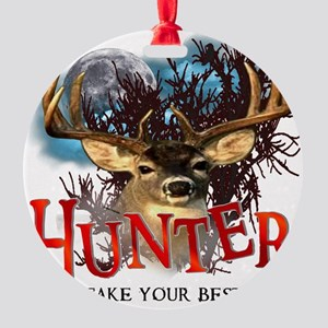 Hunter take your best shot Deer Round Ornament