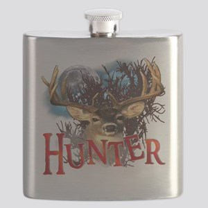 Hunter take your best shot Deer White Text Flask