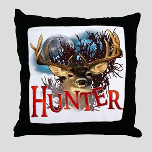 Hunter take your best shot Deer White Throw Pillow