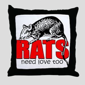 ratsneedlovetoo Throw Pillow
