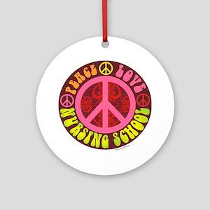 Peace, Love, Nursing School Round Ornament