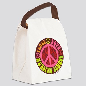 Peace, Love, Nursing School Canvas Lunch Bag