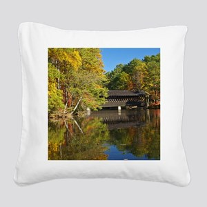 Stone Mountain Covered Bridge Square Canvas Pillow