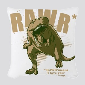 Rawr-Dinosaur-drk Woven Throw Pillow