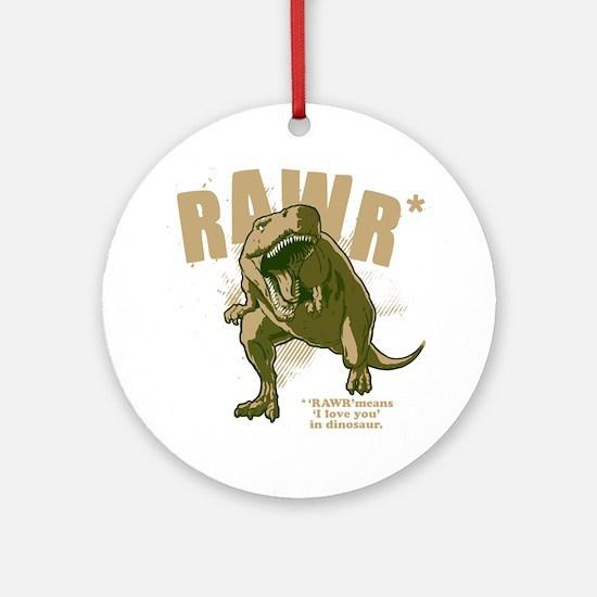 Rawr-Dinosaur-drk Round Ornament