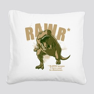 Rawr-Dinosaur-drk Square Canvas Pillow