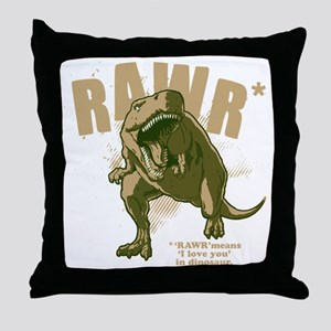 Rawr-Dinosaur-drk Throw Pillow