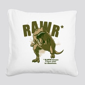 Rawr-Dinosaur Square Canvas Pillow