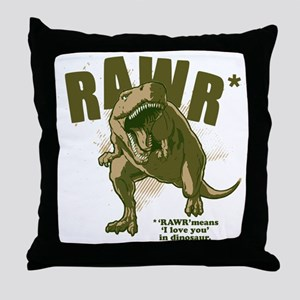 Rawr-Dinosaur Throw Pillow