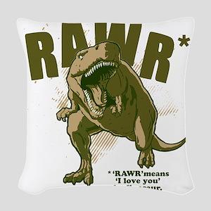Rawr-Dinosaur Woven Throw Pillow
