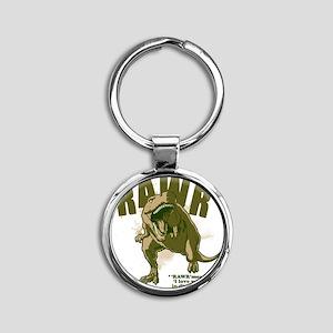 Rawr-Dinosaur Round Keychain