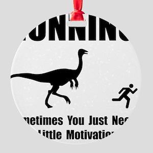 Running Motivation Black Round Ornament